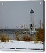 Winter At Frankfort Lighthouse Acrylic Print