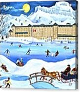Winter At Lake Louise Chateau Acrylic Print