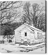 Winter At The Amish Schoolhouse - Bw Acrylic Print