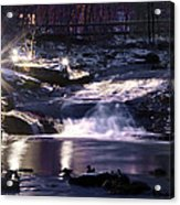 Winter At The Woodlands Waterfall In Wilkes Barre Acrylic Print