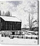 Winter Barn Impasto Version Acrylic Print