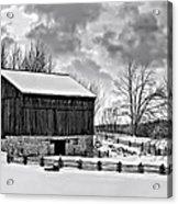 Winter Barn Monochrome Acrylic Print
