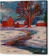Winter Barn Scene Acrylic Print