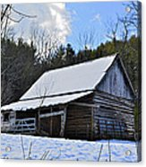 Winter Barn Acrylic Print by Susan Leggett