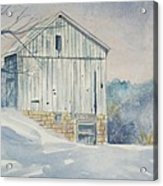 watercolor print Winter Barn painting for sale Acrylic Print