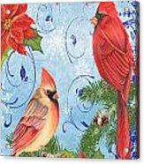 Winter Blue Cardinals-joy Card Acrylic Print