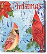 Winter Blue Cardinals-merry Christmas Card Acrylic Print