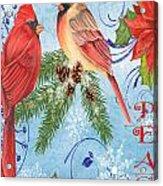 Winter Blue Cardinals-peace Card Acrylic Print