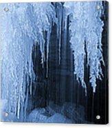 Winter Blues - Frozen Waterfall Detail Acrylic Print