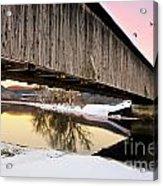 Winter Bridge Geese At Sunset Acrylic Print
