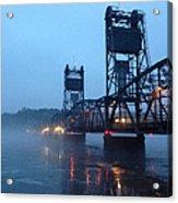 Winter Bridge In Fog Acrylic Print