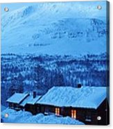 Winter Cabin Arctic Alpinglow Acrylic Print