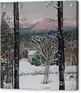 Winter - Cabin - Pink Knob Acrylic Print