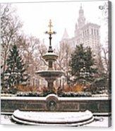 Winter - City Hall Fountain - New York City Acrylic Print