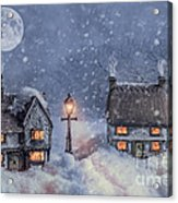 Winter Cottages In Snow Acrylic Print