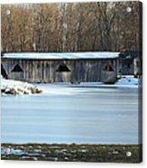 Winter Covered Bridge Acrylic Print by Jennifer  King