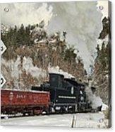 Winter Crossbuck Crossing Acrylic Print