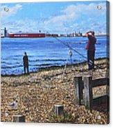 Winter Fishing At Weston Shore Southampton Acrylic Print