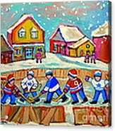 Winter Fun At Hockey Rink Magical Montreal Memories Rink Hockey Our National Pastime Falling Snow   Acrylic Print