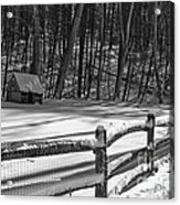 Winter Hut In Black And White Acrylic Print