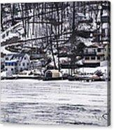 Winter Ice Lake Scene Hopatcong Covered Port Acrylic Print