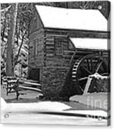 Winter Mill In Black And White Acrylic Print
