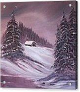 Winter Moon Acrylic Print by Janice Rae Pariza