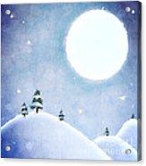 Winter Moon Over Snowy Landscape Acrylic Print