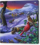 Winter Mountain Landscape - Cardinals On Holly Bush - Small Town - Sleigh Ride - Square Format Acrylic Print