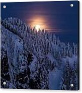 Winter Mountain Moonrise Acrylic Print