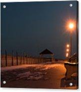 Winter Night Boardwalk Bench Seaside Nj  Acrylic Print