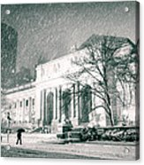 Winter Night In New York City - Snow Falls Onto 5th Avenue Acrylic Print
