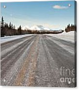 Winter On Country Road In Taiga And Snowy Mountain Acrylic Print