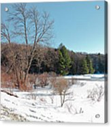 Winter On The Moose River - Old Forge New York Acrylic Print
