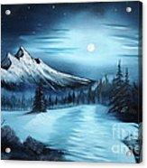 Winter Painting A La Bob Ross Acrylic Print by Bruno Santoro