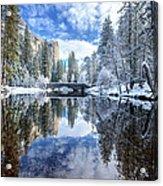 Winter Reflection At Yosemite Acrylic Print