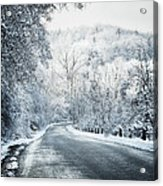 Winter Road In Forest Acrylic Print