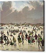 Winter Scene Circa 1859 Acrylic Print by Aged Pixel