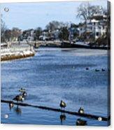 Winter Scene Jersey Shore Town Acrylic Print