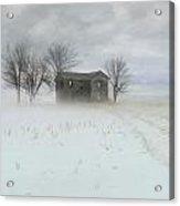 Winter Scene Of A Farmhouse/digital Painting Acrylic Print