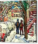 Winter Scene Painting Rows Of Snow Covered Cars First School Day After Christmas Break Montreal Art Acrylic Print