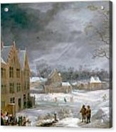 Winter Scene With A Man Killing A Pig Acrylic Print
