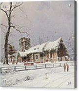 Winter Scene With Figures On A Path Near A Church Acrylic Print
