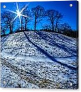 Winter Scinery In The Mountains With Bllue Sky And Sunshine Acrylic Print