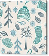 Winter Seamless Pattern With Knitted Acrylic Print