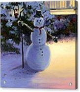 Winter Snow Man Acrylic Print by Cecilia Brendel