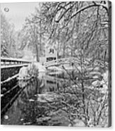 Winter Snow Storm In Somesville Maine Acrylic Print