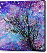 Winter Starry Night Square Acrylic Print