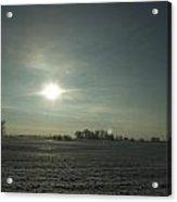Winter Sunrise On The Corn Fields 02 Acrylic Print