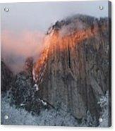 Winter Sunset On El Capitan Acrylic Print